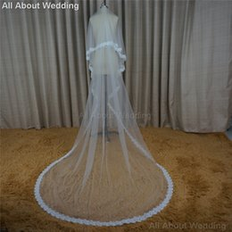 Wholesale Eyelash Lace - Eyelash Lace 3 Meter Cathedral Long Bridal Veils Wedding Hair Accessory Hair Cover New Style Real Photo