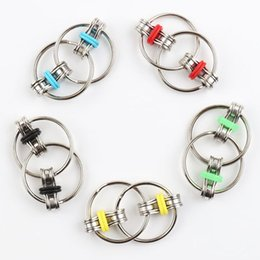 Wholesale Use Toys Wholesale - Newest Decompression Toy Key Ring Hand Spinner Fidget Stainless Steel Bicycle Chain Buckle Key Ring Finger Gyro Used Ordinary