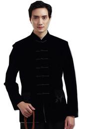 Традиционная китайская одежда онлайн-Шанхай история с длинным рукавом Китайская традиционная одежда китайская кнопка мужская черная куртка мандарин воротник кунгфу Куртка для человека