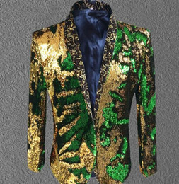 Wholesale Velour Material - male gold green sequin jacket coat blazer costume prom wedding groom fashion outfit purple singer host stage performance clothes formal show