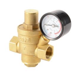 """Wholesale Brass Water Pipes - DN15 NPT 1 2"""" Adjustable Pipe Water Pressure Reducing Valve + Gauge Meter HS918-SZ"""