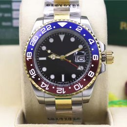 Wholesale Mechanical Time - New 15 Model AAA luxury Automatic Movement Mens Watch GMT Lum Black Blue Ceramic Bezel Watch Stainless Original Clasp Mens Watches Selfwind