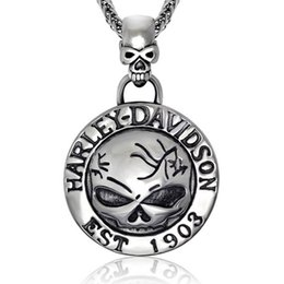 Wholesale Motorcycle Chain Necklace - Europe and the United States men's domineering personality retro Punk Skull Pendant pendant pendant titanium Harley motorcycle