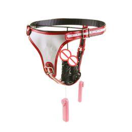 Wholesale Leather Vibrators - Real Leather Chastity Devices Lesbian Gay Panties Dildos Chastity Pants with Vagina Plug Anal Plug Vibrators Women Masturbation Underwear