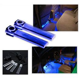 Luces interiores 12v online-Nueva llegada 4 en 1 12V Car Auto Interior LED Atmósfera Luces Decoración Lámpara Color azul