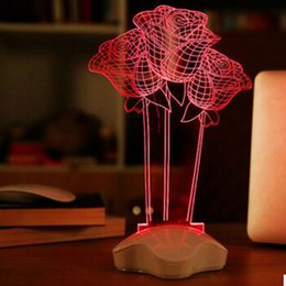 Wholesale Table Lamp Led Flowers - Wholesale- Red Rose Flower Night Light 3D Visual LED Night Light Creative Lava Table Lamp Novelty Lighting luz de noche bathroom light