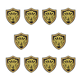 Wholesale Crown Patches - 10PCS Golden Crown Badge Embroidery Patches for Clothing Iron on Transfer Applique Patches for Garment Jeans DIY Sew on Embroidery Badge