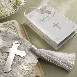 Wholesale Metal Bookmarks Cross - Wholesale-Lots 30pcs Gift Box + Silver Pretty Metal Cross Bookmark with tassel For Books wedding favors gifts