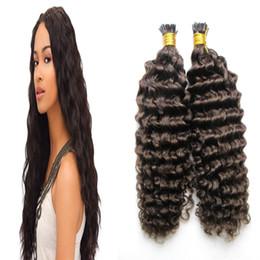 Wholesale Stick Hair Human - Remy fusion hair extensions Deep curlyI Tip Human hair extensions keratin stick tip hair extensions #4 Dark Brown 100g