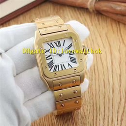 Wholesale Roman Battery - Luxury Brand Yellow Gold Square Large White Dial Sapphire Crystal Roman numerals Quartz Mens Watch Man Wristwatch