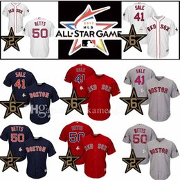Wholesale Boston Sales - 41 Chris Sale 50 Mookie Betts Baseball Jersey Boston Red Sox 2017 New All Star Game Boston Red Sox Jerseys Adult Men's
