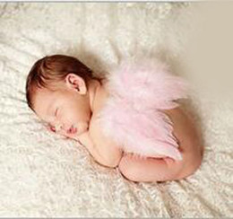 Wholesale Purple Fairy Wings - Baby Angel Wing handmade Solid headband Photography Props wing newborn Pretty Angel Fairy white feathers Costume Photo Accessories F044