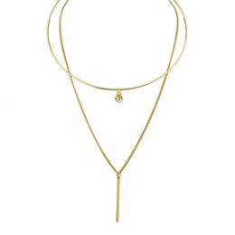 Wholesale Choker Double Chain - Latest Design Gold Alloy Double Layers Metal Circle with 1 Diamond Design Choker and Metal Chain Y-Necklaces for Fashion Women