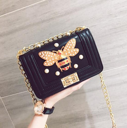 Wholesale pearly whites - wholesale brand classic real leather bags small chain bag fashion bee diamond woman single shoulder bag clamshell pearly woman hand bag