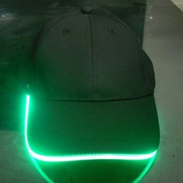 Wholesale Baseball Caps Led Lights - Wholesale- Fashion New LED Lighted Hat Party Baseball Hip-Hop Adjustable Fabric Hat Glow Cap