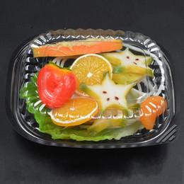 Wholesale bottom case - 0 6zq1 Black Bottom Disposable Lunch Box Transparent Anti Fog Cover Plastic Salad Food Case Fruit Lunchboxes Fresh Vgetables Boxes R