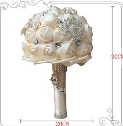 Wholesale Bridal Bouquets Flowers Rose Simulation - 2017 latest European and American bride simulation 20CM hand bouquet bridal bouquet and hand flower peas crystal diamond rose wedding suppli