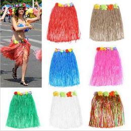 Wholesale hawaiian wholesale flowers - Hot Fashion 40cm Hawaiian Grass Luau Skirt Fancy Dress Kids Costume Garland Girl Princess Flower Hula Grass Skirt CCA6583 400pcs