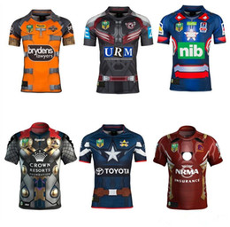 Wholesale Iron Man Patriot - 2017 rugby Jersey Newcastle Knights Iron Patriot Brisbane Broncos Iron Man Melbourne Storm Thor Wests Tigers Sea Eagles North Queensland