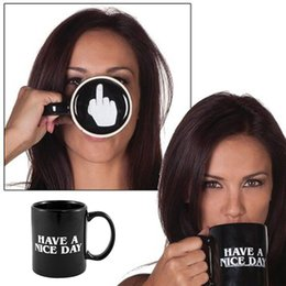 Wholesale Top Quality Bone China - Wholesale- 1Piece Ceramic Middle Finger Coffee Cups Personality Office Gifts Have A Nice Day Mug Top Quality