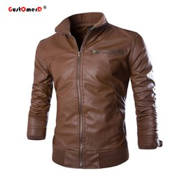 Wholesale Mens Casual Leather Jackets - Wholesale- 2016 New Fashion PU Leather Jacket Men Jaqueta De Couro Masculina Brand Mens Jackets And Coats Skinny Fit Motorcycle Jacket