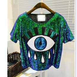 Wholesale womens crop tops wholesale - Wholesale-2015 free shipping womens tops fashion crop tops loose summer short tops Sequins Big Eye sexy tshirt casual blusas femininas