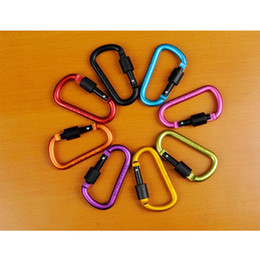 Wholesale Hanging Carabiners - Free Shipping 10pcs lot Outdoor 8CM D-shaped Aluminium Alloy Carabiner Keychain Hanging Hook Camping Backpacking Buckle