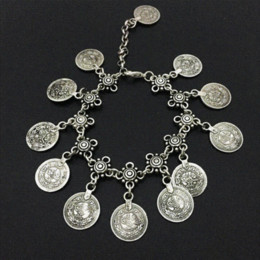 Wholesale Belly Dancing Ankle Bracelet - Bohemian Belly Dance Boho Turkish Silver Antalya Coin Anklet Bracelet Gypsy Foot Sandal Beach Ankle Chain 1 Pc