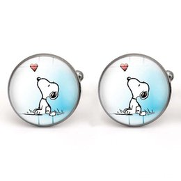 Wholesale Wholesale Cufflinks - Snoopy Cufflinks Glass Cabochon Dog Cuff Links for Men Jewelry making Accessories Cartoon Gifts Copper Wholesale