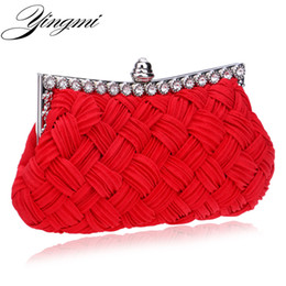 bridal handbags grey Promo Codes - Wholesale- Knitted handmade women wedding bridal red handbags clutch evening bags shoulder diamonds small purse holder bags