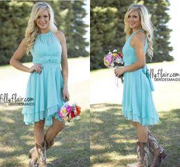 Wholesale Hi Low Style Bridesmaid Dresses - 2017 Country Style Short Bridesmaid Dresses Watermelon Royal Blue Light Blue High Low Cheap Halter Neck Ruched Backless Summer Boho Dresses
