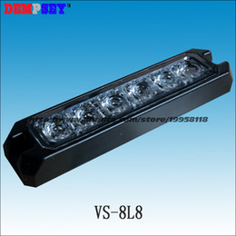 Wholesale Led Grill Lights Amber - VS-8L8 LED Thin Grill Lights, CREE 1W LED,DC12V 24V LED surface mount Strobe Warning Flashing Light,22 flash pattern, waterproof
