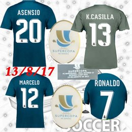 Wholesale Green Shirts For Men - 2017 spain super cup for 13 AUGUST XXL XXXL 4XL Real Madrid GK away asensio ronaldo vs messi supercopa Soccer Jerseys Shirts uniforms Sales