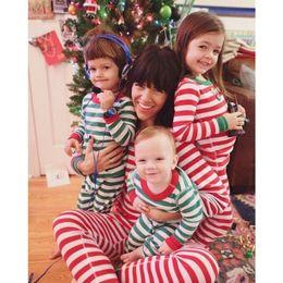 Wholesale Sleepwear T Shirts Cotton - Kids Long sleeves Striped Christmas pajama sets striped T shirt & striped pants 2colors 5sizes kids cotton sleepwear homewear Xmas clothing