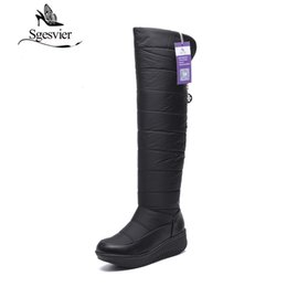 Wholesale Waterproof Long Boots - Over-the-knee Women Snow Boots Winter Waterproof Long Boots Space Cotton Warm Plush Thick Heel Black Women Shoes OX127