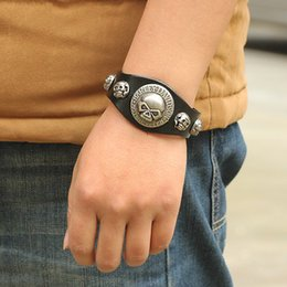Wholesale Men Bracelete - Wholesale-Punk Big Skull Bracelet for Lovers PU Leather Braclet Men Friendship Bracelet Braslet Pulseira Bracelete Masculina Ancora Couro