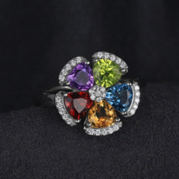 Wholesale Natural Amethyst Gemstone Rings - JewelryPalace Fower 2.6ct Natural Blue Topaz Amethyst Citrine Garnet Peridot Ring 925 Sterling Silver Gemstone Fine Jewelry 2017