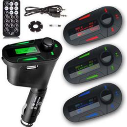 Wholesale Cigarette Lighter Kit - Wholesale- LCD USB Car Charger Cigarette Lighter Charger USB Socket Car Remote Wireless FM Transmitter Modulator Car Kit MP3 Player