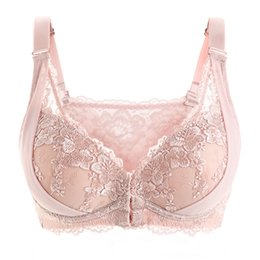 Wholesale Women Big Size Bras - Womens 3 4 Cup Underwire Transparent Lace Floral Front Closure Embroidery Big Size Bra Lingerie for Women 34 36 38 40 42 B C D