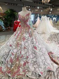 Wholesale Jersey Knit Evening Gowns - Pink Lace Flowers Beautiful Evening Dresses 2017 Vestido de Festa Vestidos de Fiesta Largos Elegantes de Gala Robe Longue Abiye Prom Dresses