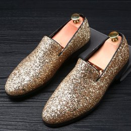 Wholesale Young Leather Men - mens casual stage night club cow leather Rhinestone shoes young punk slip-on shoe flat platform brand loafers sapato