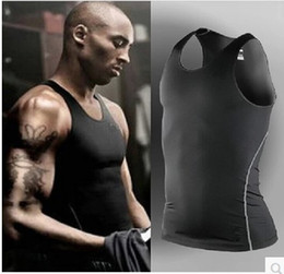 Wholesale tights spandex male - Pro tights men sport basketball vest Tank Tops summer slim fitness skinny Male training suit running quick drying sleeveless