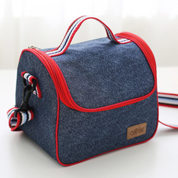 Wholesale Kids Insulated Lunch Boxes Wholesale - Denim Lunch Bag Kid Bento Box Insulated Pack Picnic Drink Food Thermal Ice Cooler Leisure Accessories Supplies Product 2509032