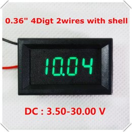 "Tester digitale a led online-Modulo di automazione domestica all'ingrosso DC 3.50-30.00V Display a LED blu 0.36 ""Voltmetro digitale a 4 cifre 2 fili con guscio Voltage Car Panel Meter"