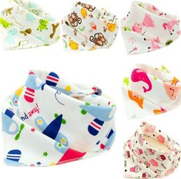 Wholesale Newborn Wears - Wholesale- 6pcs lot New Baby Cotton Bib Infant Saliva Towels Baby Accessories Bibs  Newborn Wear Cartoon Head Scarf ftrk0003