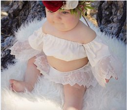 Wholesale Gauze Short Skirt - Baby lace outfits baby girls slash neck embroidery lace sleeve tops+gauze skirt 2pc clothing sets Infant kids summer clothing T3726