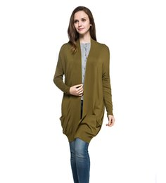 Wholesale Thin Wool Scarves - Wholesale-Spring Autumn Style Women Solid Color Long Style Plus Size Casual Knitted Cardigan Sweater Oversize Scarf Collar Drop shoulder