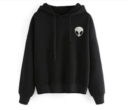 Wholesale Exo Pullover - 2016New arrvials Alien Hoodies Letter Grey White Black Bts Exo Fashion style pullover sweatshirt for women's Mujer Lager 9145#