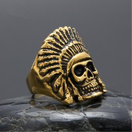 Wholesale Engagement Rings Mens 18k - Brand Design Mens Stainless Steel Skull Ring Apache Knight 18k Gold Plated Vintage Rings Hip Hop Men Jewelry Man Punk Jewellery High Quality