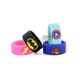 Wholesale Wholesale Rubber Logo - Vape Band Silicone Rings with Superman Batman Flash Captain America Logo Colorful Rubber Rings Fit 510 Thread RDA RTA Atomizer Mods E Cigs